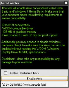 Включение интерфейса Aero в Windows Vista/7 Home Basic