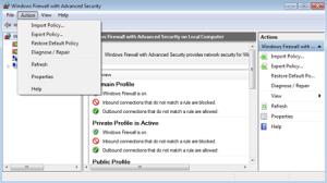 Резервное копирование и восстановление настроек брандмауэра Windows 7