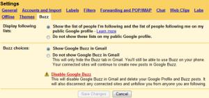 Отключение интегрированного в Gmail сервиса Google Buzz