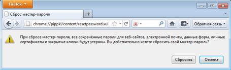 Сброс и восстановление мастер-пароля Firefox