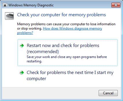 Диагностика памяти средствами Windows