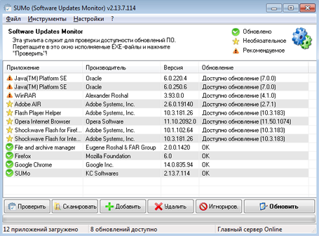 Проверка установленных в Windows программ на наличие обновлений