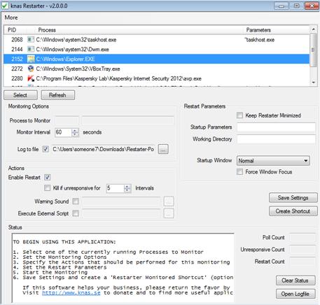 Автоматический перезапуск приложений Windows в случае сбоя