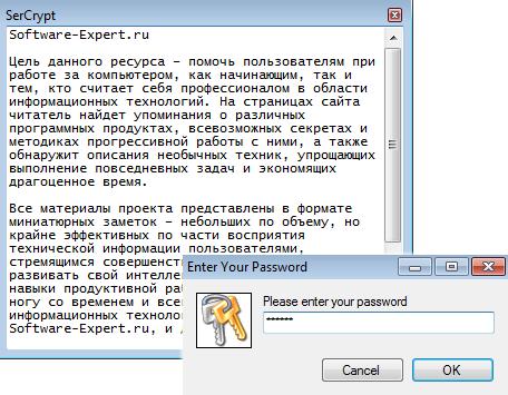 Оперативное шифрование текстовых заметок