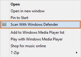 Добавление Windows Defender в контекстное меню Windows 8