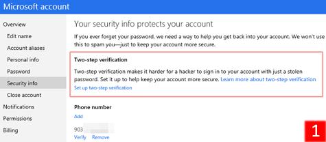 Включение режима двухфакторной аутентификации для Microsoft Account