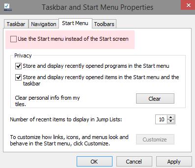 Как вернуть стартовый экран Пуск в Windows 10 Technical Preview