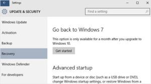 Как восстановить предыдущую версию ОС после обновления до Windows 10