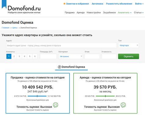 Онлайн-оценка стоимости квартиры с помощью сервиса Domofond Оценка